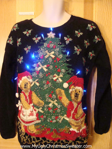 Light Up Ugly Xmas Sweater Pullover with Huge Tree and Two Bears