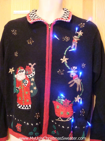 Light Up Ugly Xmas Sweater Santa and Reindeer and Sleigh