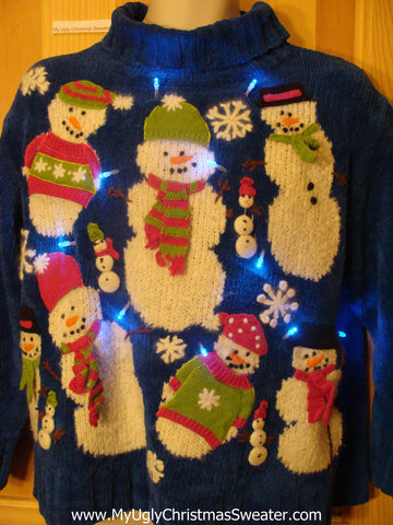 Light Up Blue 2sided Ugly Xmas Sweater with Round Festive Snowmen
