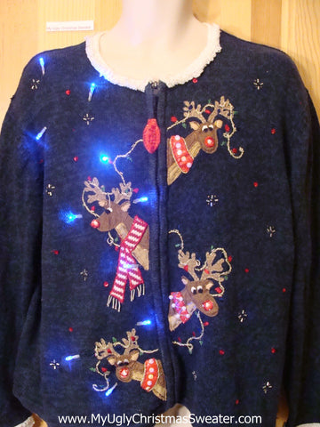 Blue Light Up Ugly Xmas Sweater Four Festive Reindeer