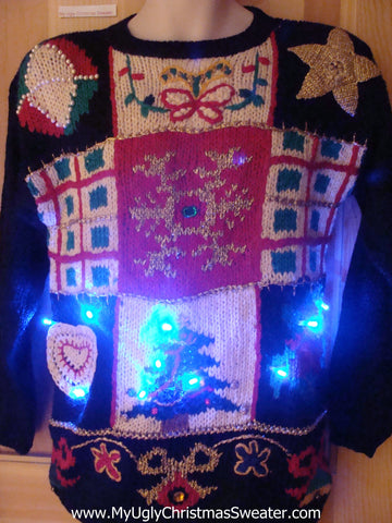 Light Up Ugly Xmas Sweater 80s Horrible Festive Pullover