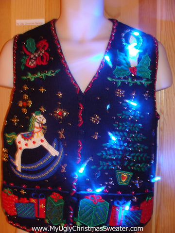 Light Up Ugly Xmas Sweater Vest Bling Tree and Rocking Horse