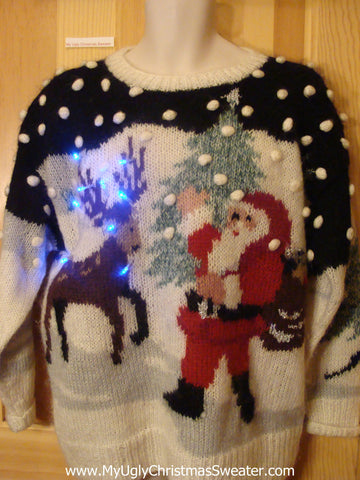 Holy Grail Contest Winner Light Up Ugly Xmas Sweater Santa and Reindeer