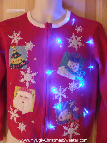 Light Up Red Ugly Xmas Sweater with Snowflakes, Santa, Reindeer, Tree