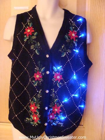 Light Up Ugly Xmas Sweater Vest with Red Poinsettias