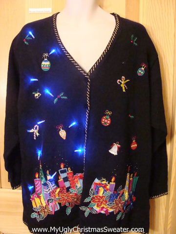 Light Up Black Cardigan Ugly Xmas Sweater Gifts, Candles, and Bling