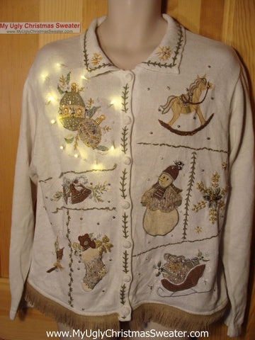 Tacky Ugly Christmas Sweater with Lights and Fringe (g82)
