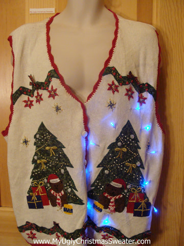 Light Up Ugly Xmas Sweater Vest Trees Womens Mens XXXL