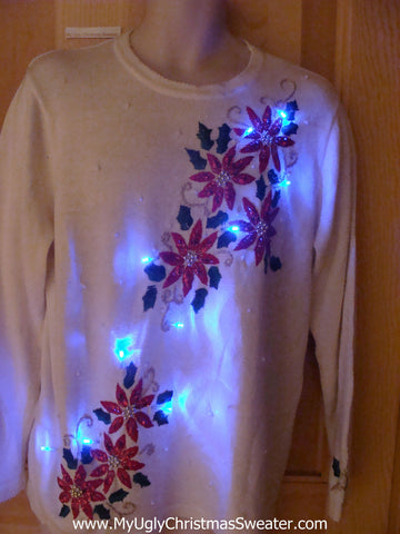 Light Up Ugly Xmas Sweater Pullover with Poinsttias