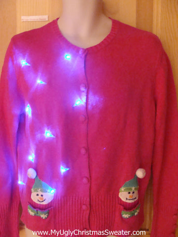 Pink Light Up Ugly Xmas Sweater Snowmen with PomPom Hats