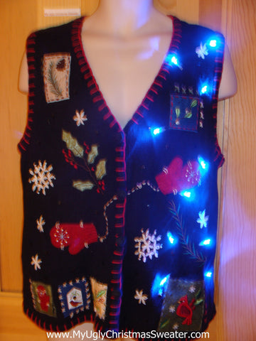 Black Light Up Ugly Xmas Sweater Vest with Mittens