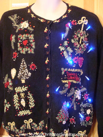 Light Up Ugly Xmas Sweater Greenery Plant Theme with Padded Shoulders
