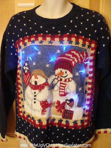 Light Up Ugly Xmas Sweater Patriotic Snowmen with Flag