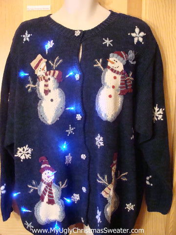 Light Up Ugly Xmas Sweater Snowmen Cardigan Wm or Mens XXXL
