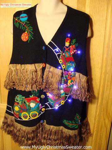 Tacky Ugly Christmas Sweater Vest Holy Grail of Awful with Lights and Fringe XXXL (g83)
