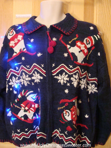 Ski Theme Light Up Ugly Xmas Sweater Festive Skiing Snowmen