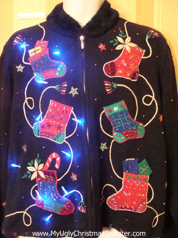 Light Up Ugly Xmas Sweater Cheesy Stockings Furry Collar