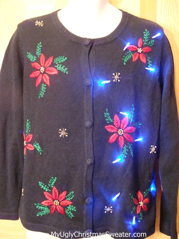 Light Up Ugly Xmas Sweater Cardigan with Poinsettias and Ivy