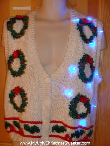 Light Up Ugly Xmas Sweater Vest with Wreathes and Ivy 80s Style
