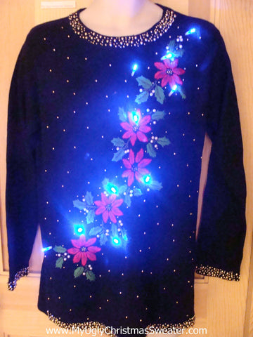 Light Up Ugly Xmas Sweater Pullover with Red Poinsettias and Green Ivy