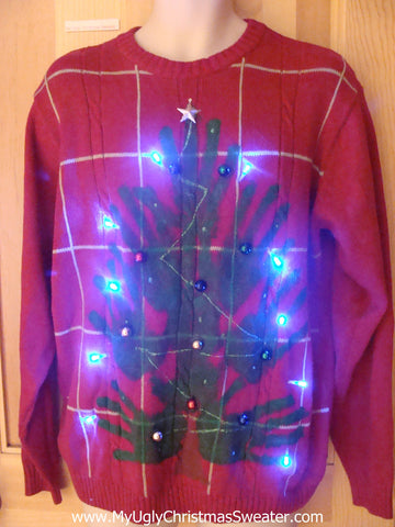 Home Crafted Mens Light Up Ugly Xmas Sweater with Hand Stamps