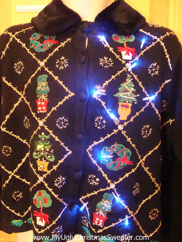 Light Up Ugly Xmas Sweater Grennery, Snowflakes and Furry Collar