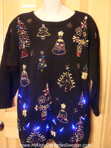 Light Up Ugly Xmas Sweater Pullover 80s Tons of Bling