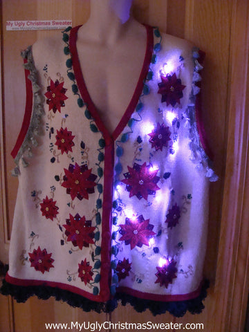 Tacky Ugly Christmas Sweater Poinsettia Vest with Lights and Fringe (g84)