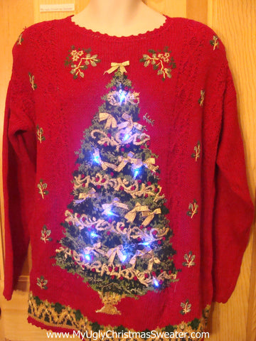 Light Up Ugly Xmas Sweater 80s with Huge Tree and Scalloped Trim