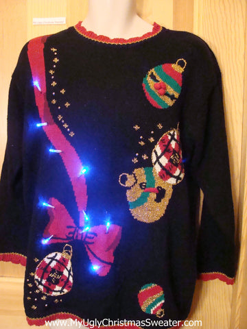 Light Up Ugly Xmas Sweater 80s with Long Red Bow and Ornaments