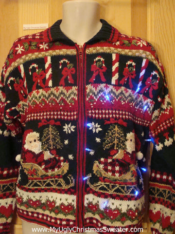 Light Up Ugly Xmas Sweater 2sided Horrible Mess with Santa and Sleigh