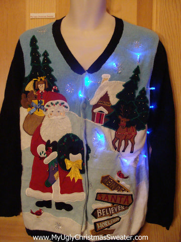 Light Up Ugly Xmas Sweater Santa with Wings and Reindeer