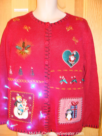 Red Light Up Ugly Xmas Sweater with Snowman, Heart, Ivy and Gift
