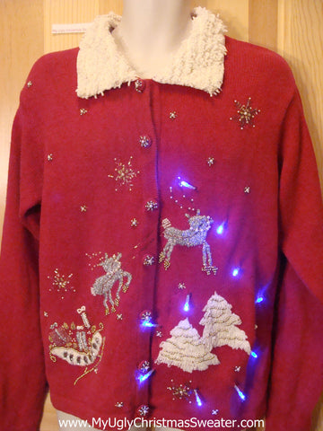 Light Up Red Ugly Xmas Sweater Bling Reindeer and Furry Collar