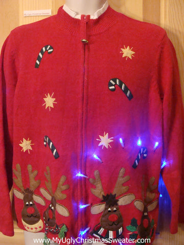 Light Up Ugly Xmas Sweater Red Nosed Reindeer and Floating Candycanes