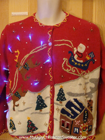 Light Up Red Ugly Xmas Sweater with Reindeer and Santa Winner