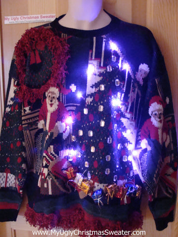 Great Gift! Tacky Ugly Christmas Mens Sweater Golf Theme with Lights and Fringe. Holy Grail of Terrific. (g85)
