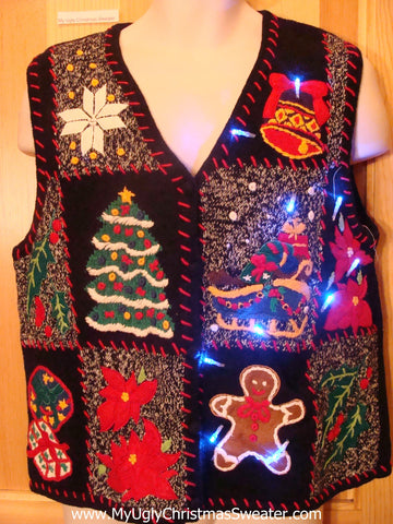 Light Up Ugly Xmas Sweater Vest with Red Embroidered Trim