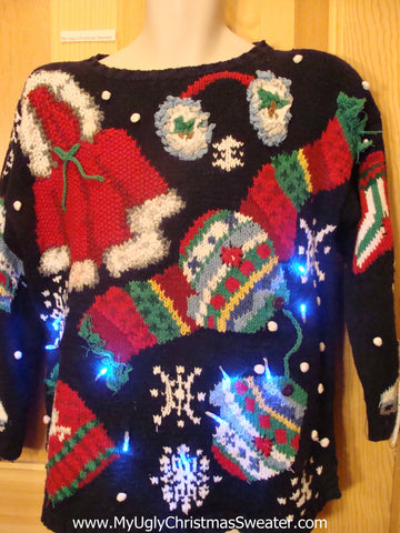 Light Up Ugly Xmas Sweater 80s Holy Grail of Fantastic 2sided Winner