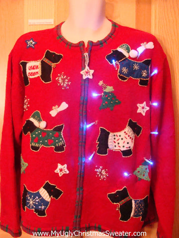 Light Up Ugly Xmas Sweater Scottie Puppy Dogs in Festive Clothes
