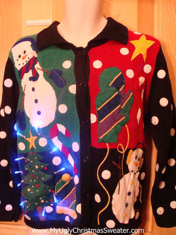Rare Light Up Ugly Xmas Sweater with Snowmen Huge Snowflake Dots