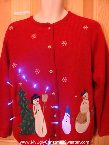 Red Light Up Ugly Xmas Sweater Cardigan Snowman Family and Tree