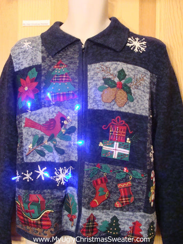 Blue Light Up Ugly Xmas Sweater Cardinal, Stockings, Poinsettia