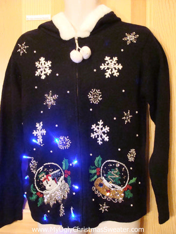Light Up Ugly Xmas Sweater Snowglobe Hoodie with Furry Collar