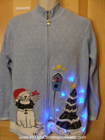 Cat with Antlers 2sided Light Up Ugly Xmas Sweater
