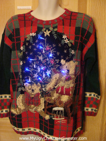 Light Up Ugly Xmas Sweater 80s Plaid with Bears and Tree