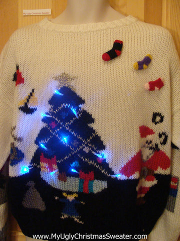 Light Up Ugly Xmas Sweater 80s Pullover Santa Tree 3D Stockings