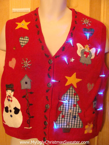 Light Up Ugly Xmas Sweater Vest Plaid Themed Angel, Tree, Heart