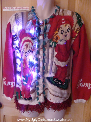 Vintage Campbells Soup 80s (or earlier) Tacky Ugly Christmas Sweater with Lights and Fringe (g87)