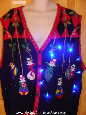 Light Up Ugly Xmas Sweater Vest Ivy Elf Womens Mens XXXL or 4XL